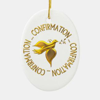 Ornement Ovale En Céramique Confirmation d'or et Saint-Esprit
