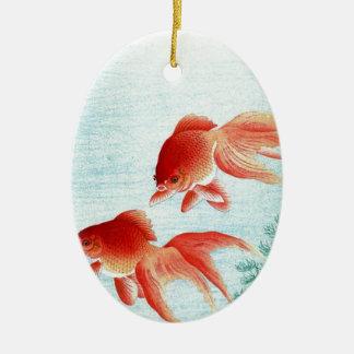 Ornement Ovale En Céramique Copie japonaise vintage de poissons