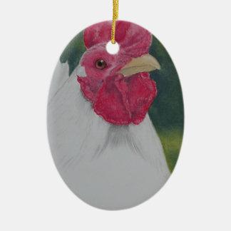 Ornement Ovale En Céramique Coq blanc