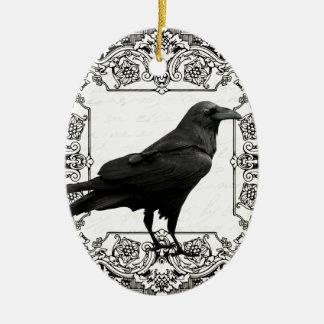 Ornement Ovale En Céramique Corbeau vintage de Halloween