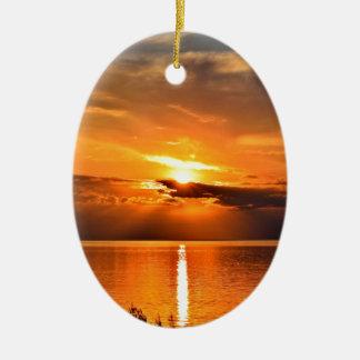 Ornement Ovale En Céramique Coucher du soleil