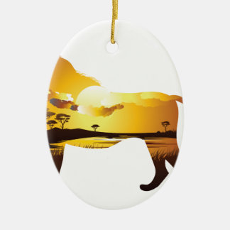 Ornement Ovale En Céramique Coucher du soleil africain avec Lion2