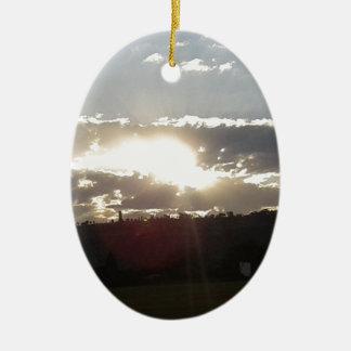 Ornement Ovale En Céramique Coucher du soleil d'Imperani