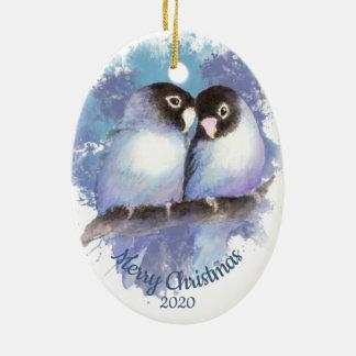 Ornement Ovale En Céramique Couples datés d'inséparable de Noël de coutume