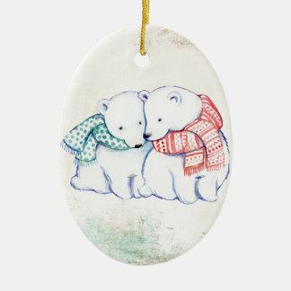 Ornement Ovale En Céramique Couples d'ours blancs