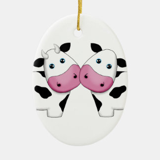 Ornement Ovale En Céramique Couples mignons de vache
