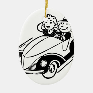 Ornement Ovale En Céramique Couples vintages de voiture