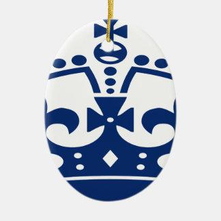 Ornement Ovale En Céramique Couronne bleue