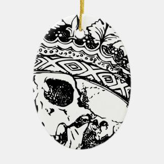 Ornement Ovale En Céramique Couronne de crâne