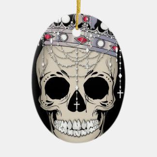 Ornement Ovale En Céramique Couronne d'horreur de Halloween de cadre d'os de