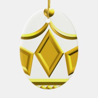 Ornement Ovale En Céramique Couronne d'or