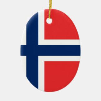 Ornement Ovale En Céramique Coût bas ! Drapeau de la Norvège