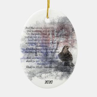 Ornement Ovale En Céramique Coutume Edgar Allan Poe daté l'art de poème de
