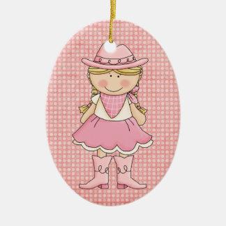 Ornement Ovale En Céramique Cow-girl assez rose (blonde)