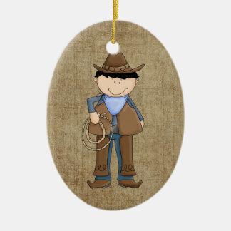 Ornement Ovale En Céramique Cowboy