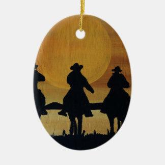 Ornement Ovale En Céramique cowboys et chevaux