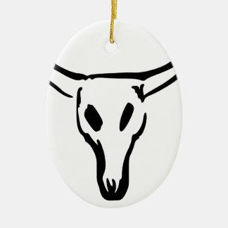 Ornement Ovale En Céramique Crâne de vache