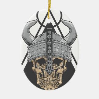 Ornement Ovale En Céramique Crâne de Viking