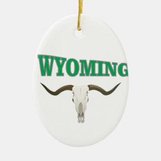 Ornement Ovale En Céramique Crâne du Wyoming