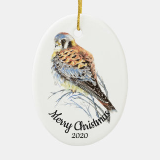 Ornement Ovale En Céramique Crécerelle datée d'aquarelle de Noël de coutume,