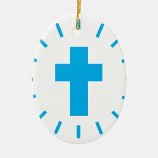 Ornement Ovale En Céramique Croix de Jésus-Christ