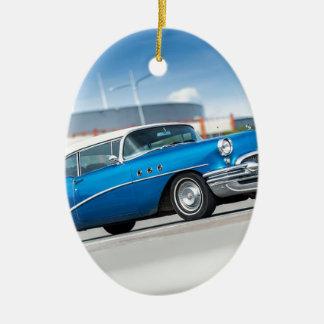 Ornement Ovale En Céramique Cru classique bleu de vieille voiture du Special