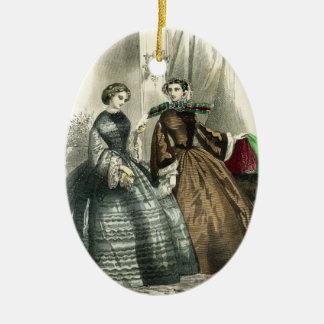 Ornement Ovale En Céramique Dames de fantaisie de femmes victoriennes de