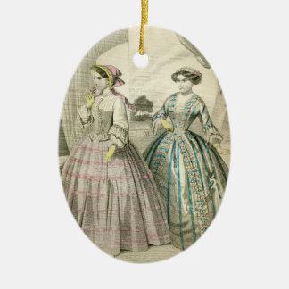 Ornement Ovale En Céramique Dames victoriennes vintages de fantaisie Edwardian