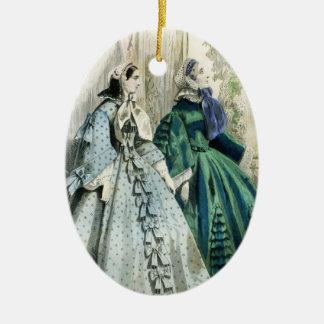 Ornement Ovale En Céramique Dames victoriennes vintages Edwardian de fantaisie