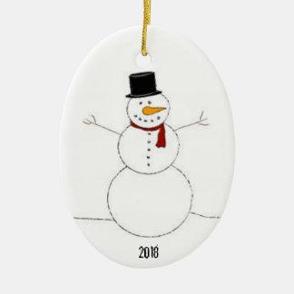Ornement Ovale En Céramique Décoration 2018 de Noël de bonhomme de neige