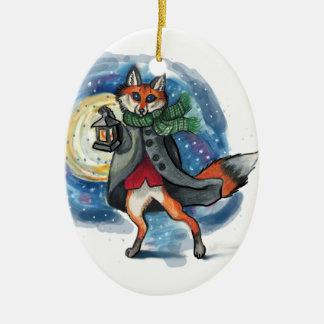 Ornement Ovale En Céramique Décoration de Fox Chirstmas de lanterne de