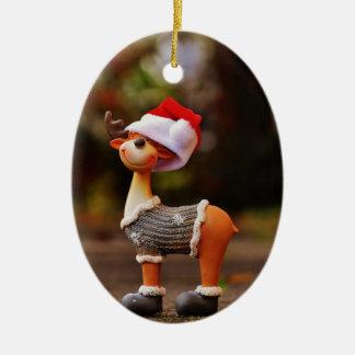 Ornement Ovale En Céramique Décorations de renne - renne de Noël