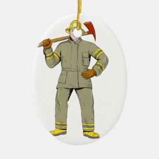Ornement Ovale En Céramique Dessin américain de hache du feu de sapeur-pompier