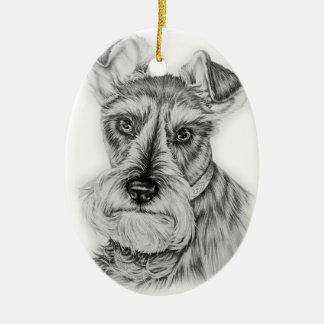 Ornement Ovale En Céramique Dessin d'art de chien de Schnauzer