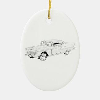 Ornement Ovale En Céramique Dessin de Bel Air de Chevy du classique 1955