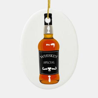 Ornement Ovale En Céramique Dessin de bouteille de whiskey d'isolement sur