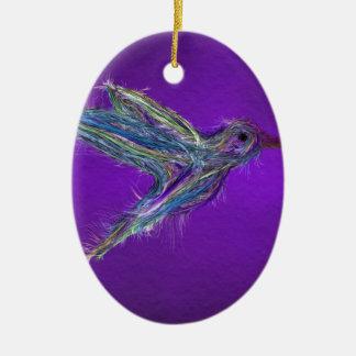 Ornement Ovale En Céramique Dessin de colibri
