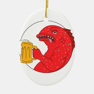 Ornement Ovale En Céramique Dessin de corail de cercle de tasse de bière de