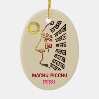 Ornement Ovale En Céramique Dessin stupéfiant de Machu Picchu