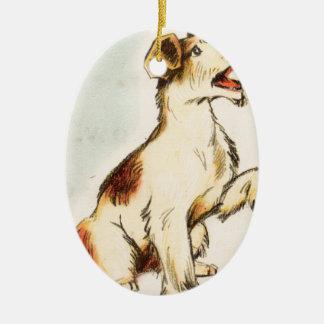 Ornement Ovale En Céramique Dessin vintage de chien d'écorcement