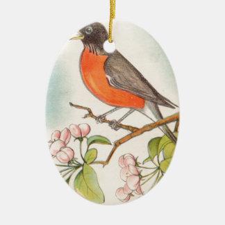 Ornement Ovale En Céramique Dessin vintage de Robin