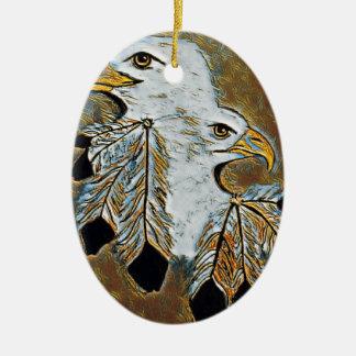 Ornement Ovale En Céramique Deux Eagles