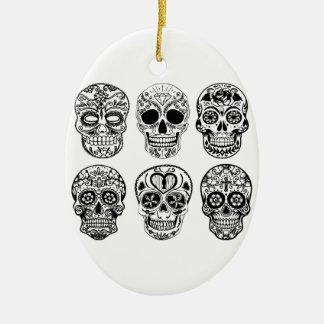 Ornement Ovale En Céramique Dia de los Muertos Skulls (jour des morts)