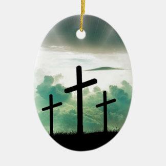 Ornement Ovale En Céramique Dieu croisé Jésus de foi du Christ opacifie la