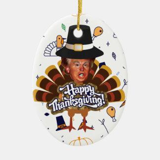 """Ornement Ovale En Céramique """"dinde d'atout de thanksgiving"""
