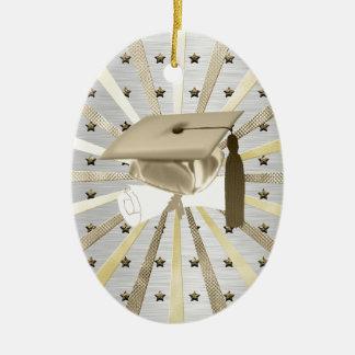 Ornement Ovale En Céramique Diplôme argenté de casquette d'obtention du
