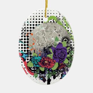 Ornement Ovale En Céramique Disco argentée grunge Ball2 [converti] - 01