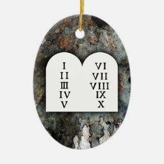 Ornement Ovale En Céramique Dix commandements