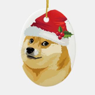 Ornement Ovale En Céramique Doge de Noël - doge de père Noël - chien de Noël