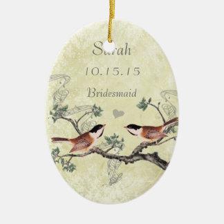 Ornement Ovale En Céramique Domestique vintage d'oiseau de Chickadee des